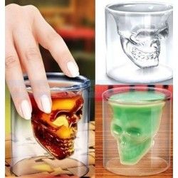 VASO CALAVERA DOBLE VIDRIO 75 ML.
